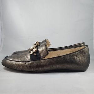 Nine West Bronze Leather Flats with Embellishments